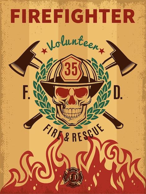 Vintage brandweerman poster Gratis Vector
