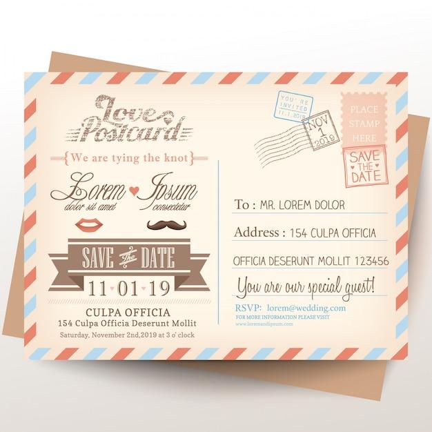 Vintage briefkaart achtergrond van de huwelijksuitnodiging Gratis Vector