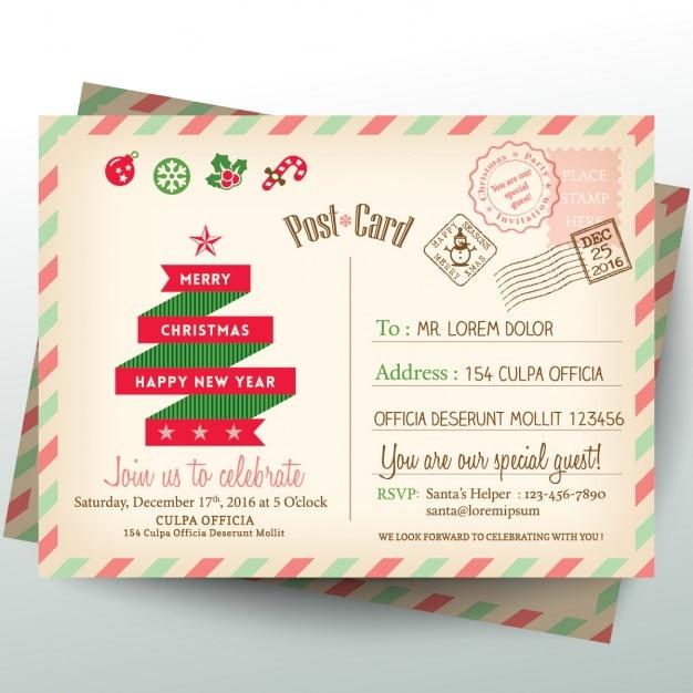 Vintage briefkaart de brief van kerstmis Gratis Vector