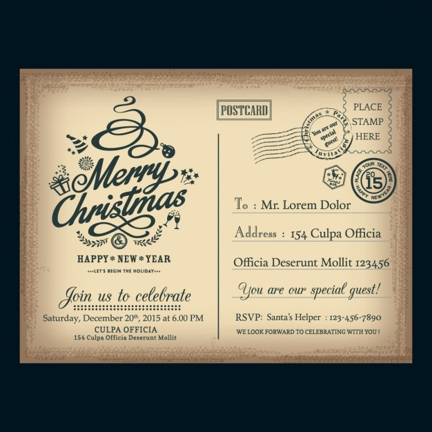Vintage briefkaart van kerstmis post brief Gratis Vector