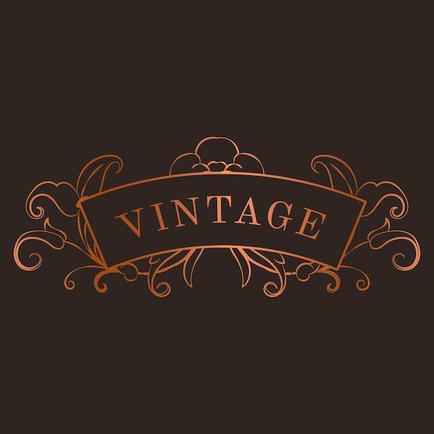 Vintage bronzen art nouveau badge vector Gratis Vector