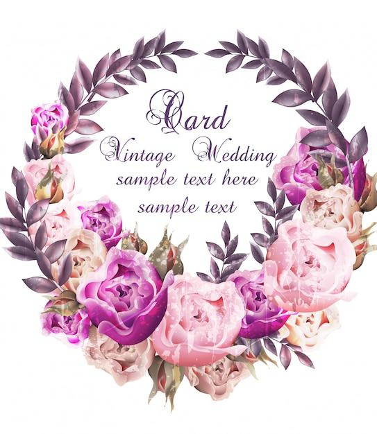 Vintage bruiloft kaart met rozen krans Premium Vector