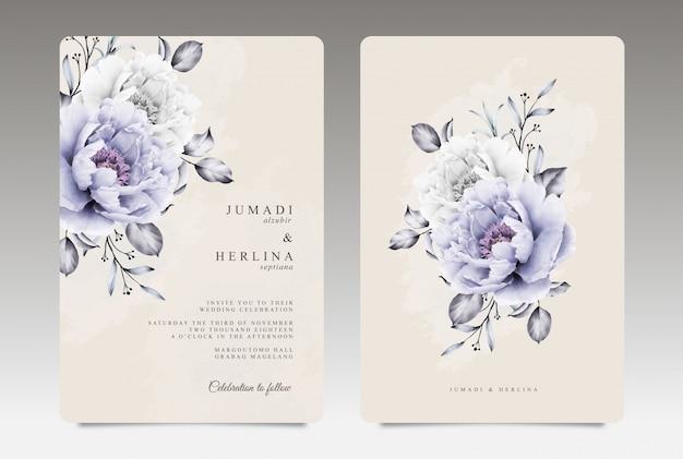 Vintage bruiloft kaartsjabloon met paarse en witte pioen aquarel Premium Vector