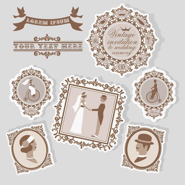 Vintage bruiloft label set met bruids ansichtkaarten en retro decor isolaten Gratis Vector