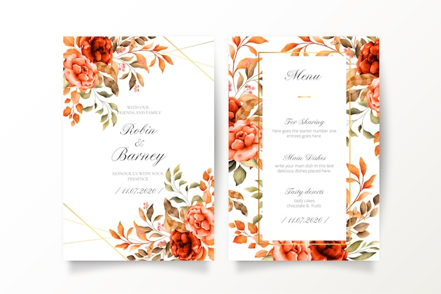 Vintage bruiloft uitnodiging en menusjabloon Gratis Vector