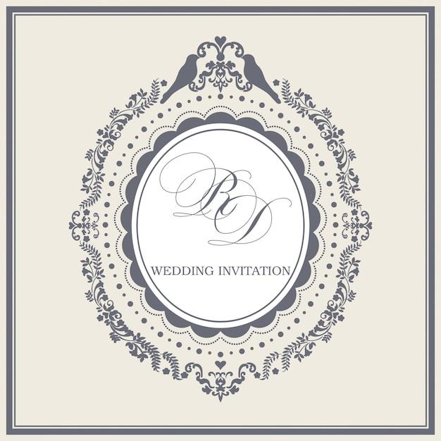 Vintage bruiloft uitnodiging grens en frame sjabloon Premium Vector