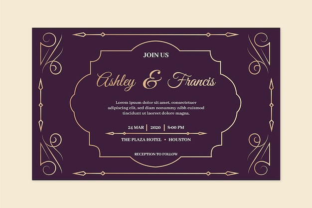 Vintage bruiloft uitnodiging in violette tinten Gratis Vector