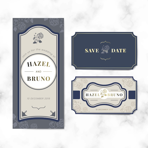 Vintage bruiloft uitnodiging label vector set Gratis Vector