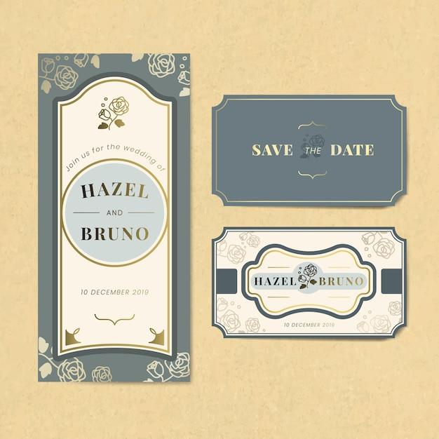 Vintage bruiloft uitnodiging label vector set Gratis Vector