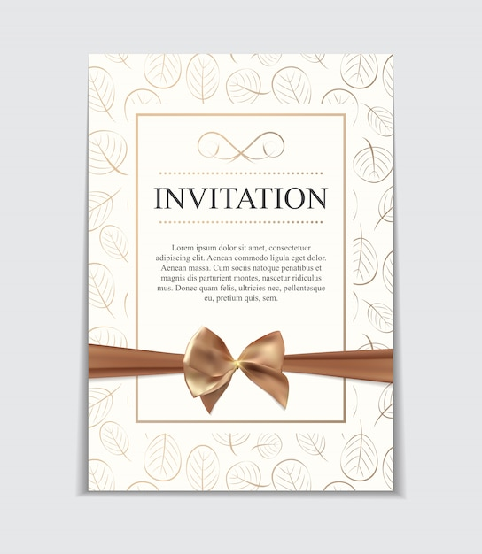Vintage bruiloft uitnodiging met boog en lint sjabloon i Premium Vector