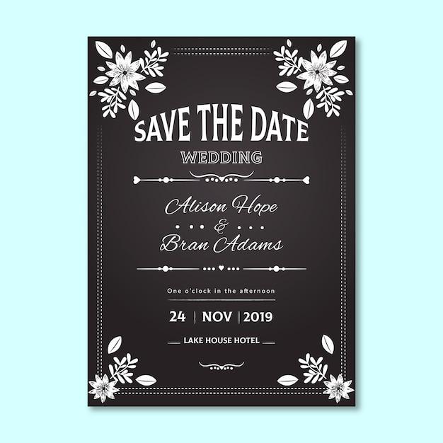 Vintage bruiloft uitnodiging met florale rand Gratis Vector