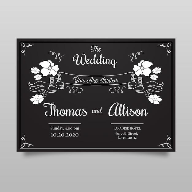 Vintage bruiloft uitnodiging sjabloon op blackboard Gratis Vector