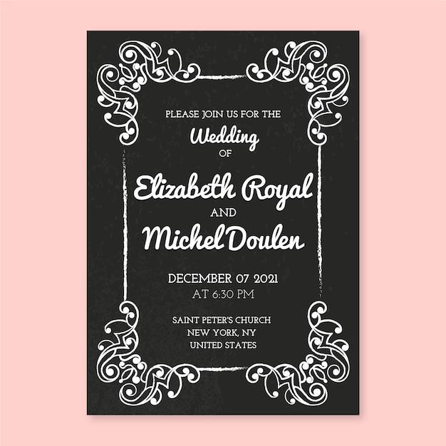 Vintage bruiloft uitnodiging sjabloon Gratis Vector