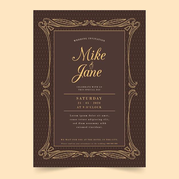 Vintage bruiloft uitnodiging Gratis Vector