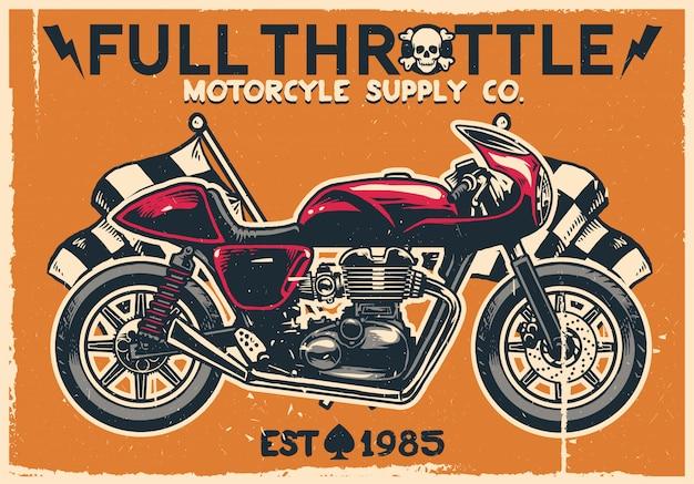 Vintage café racer motorfiets Premium Vector