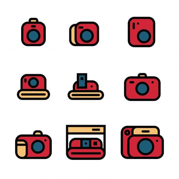 Vintage camera pictogrammenset vectorillustratie Premium Vector