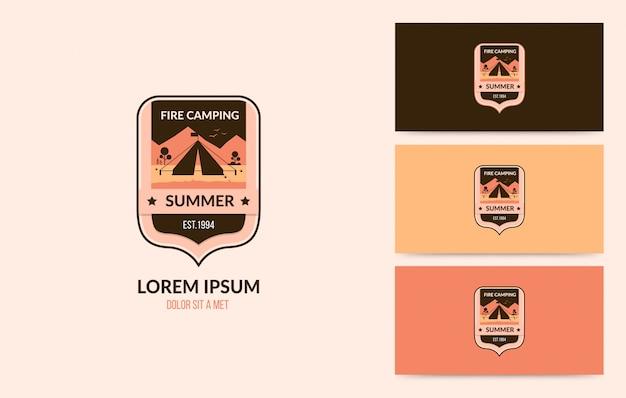 Vintage camping badge set Premium Vector