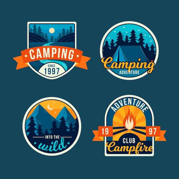 Vintage camping badges collectie Gratis Vector