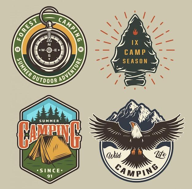 Vintage camping emblemen Gratis Vector