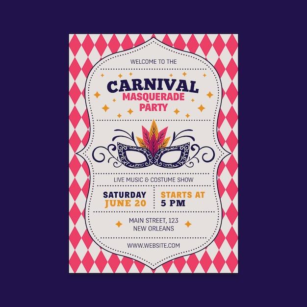 Vintage carnaval feest flyer met masker Gratis Vector
