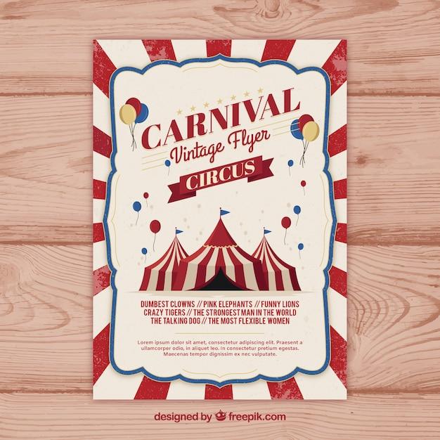 Vintage carnaval partij flyer / poster Gratis Vector
