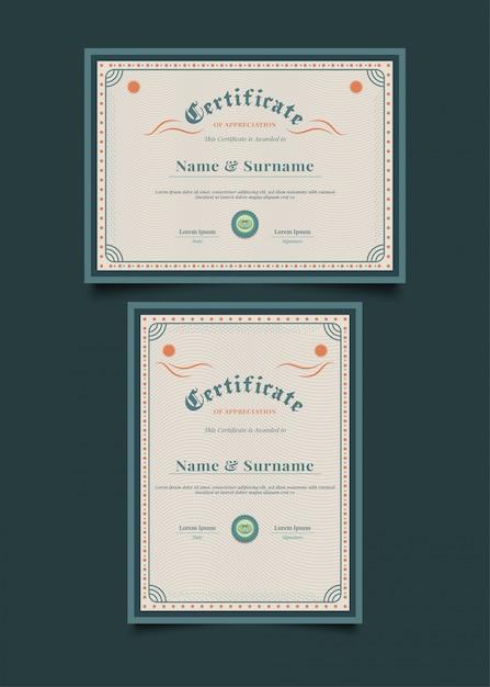 Vintage certificaatsjabloon met abstracte decoratieve frame Premium Vector