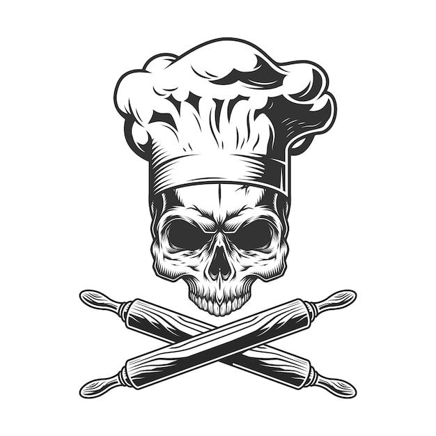 Vintage chef schedel zonder kaak Gratis Vector
