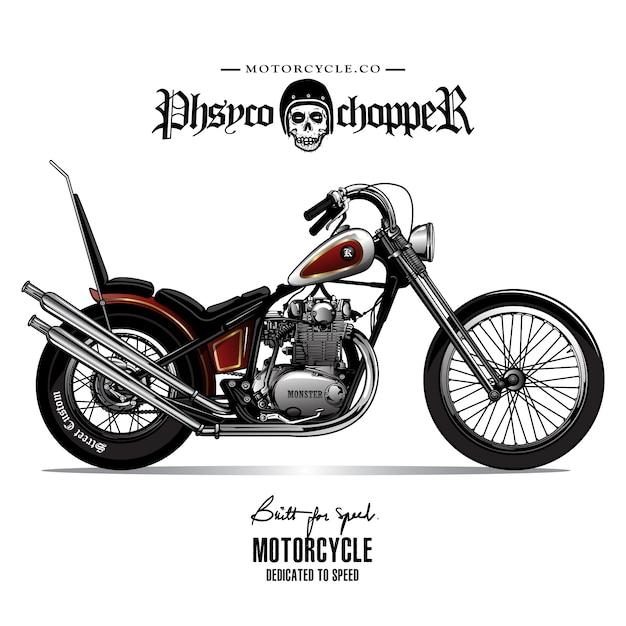 Vintage chopper motorfiets poster Premium Vector