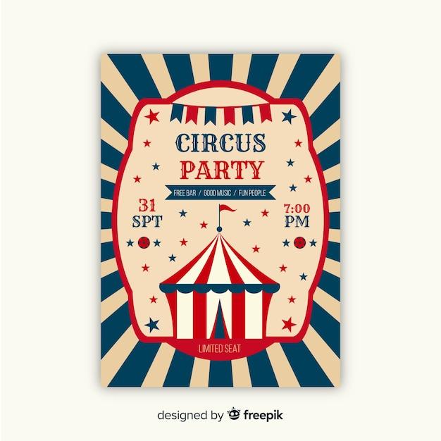 Vintage circus feest uitnodigingskaart Gratis Vector