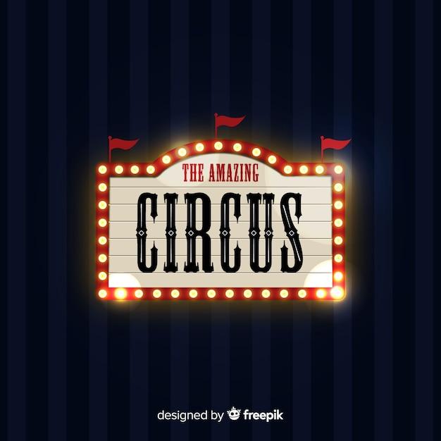 Vintage circus licht bord Gratis Vector