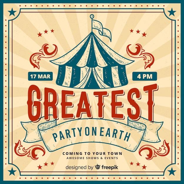 Vintage circus partij uitnodiging kaartsjabloon Premium Vector
