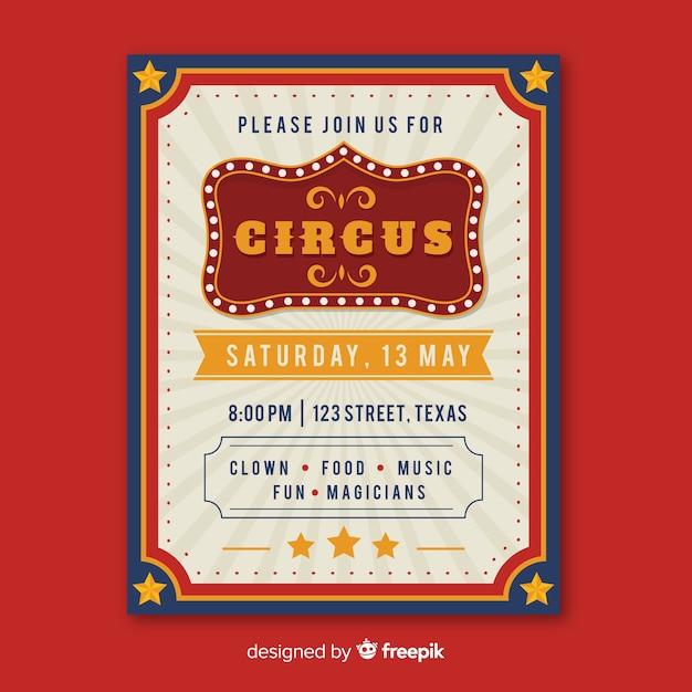 Vintage circus partij uitnodiging kaartsjabloon Gratis Vector
