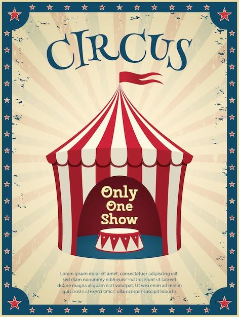 Vintage circus poster. uitnodiging voor de show. illustratie. Premium Vector