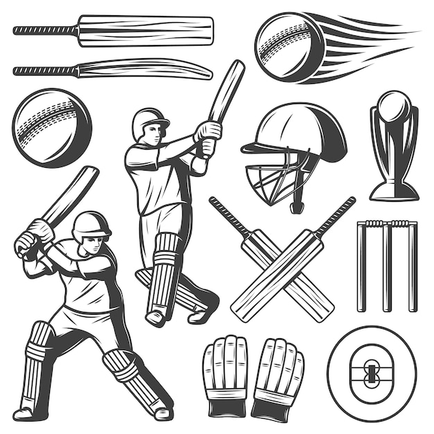 Vintage cricket elements-collectie Gratis Vector