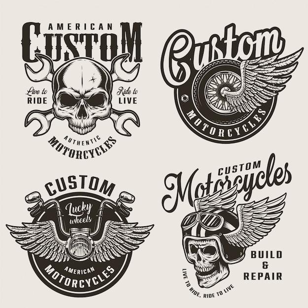 Vintage custom motorfiets emblemen Gratis Vector