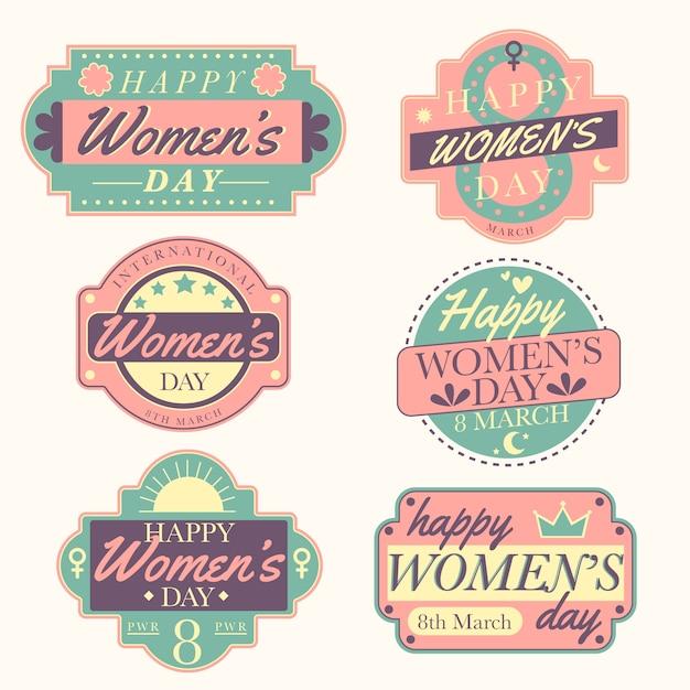 Vintage dames dag label collectie Gratis Vector