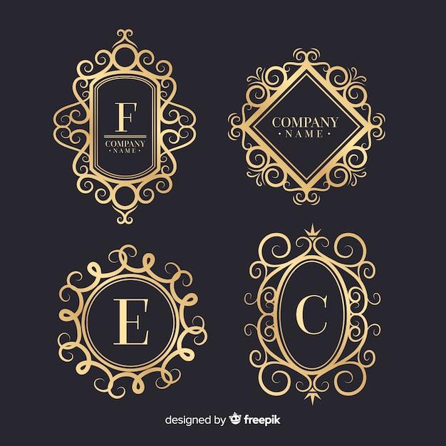 Vintage decoratieve logo's collectie Gratis Vector