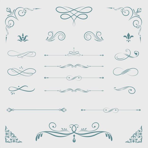 Vintage decoratieve ontwerpelementen Gratis Vector