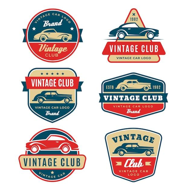 Vintage design auto logo collectie Gratis Vector