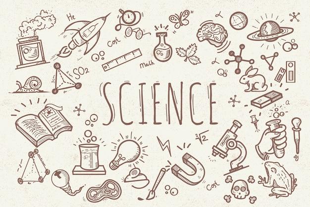 Vintage design wetenschap onderwijs achtergrond Gratis Vector