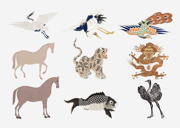 Vintage dierenborduurwerk en illustratieset Gratis Vector