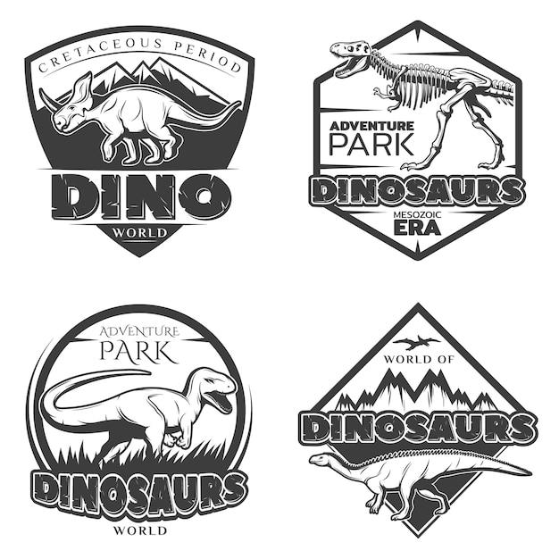 Vintage dinosaurus logo's Gratis Vector