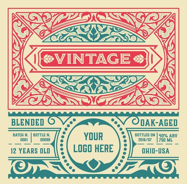 Vintage drank labelsjabloon Premium Vector