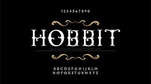 Vintage elegante alfabet letters serif-lettertypen instellen Premium Vector