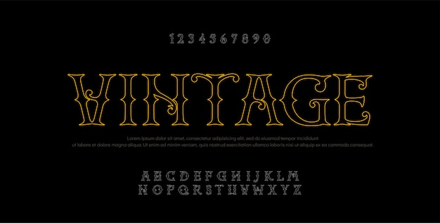 Vintage elegante alfabet regel letters zonder serif Premium Vector