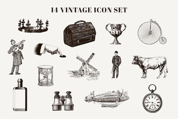 Vintage elementen, dieren en tekenset Gratis Vector
