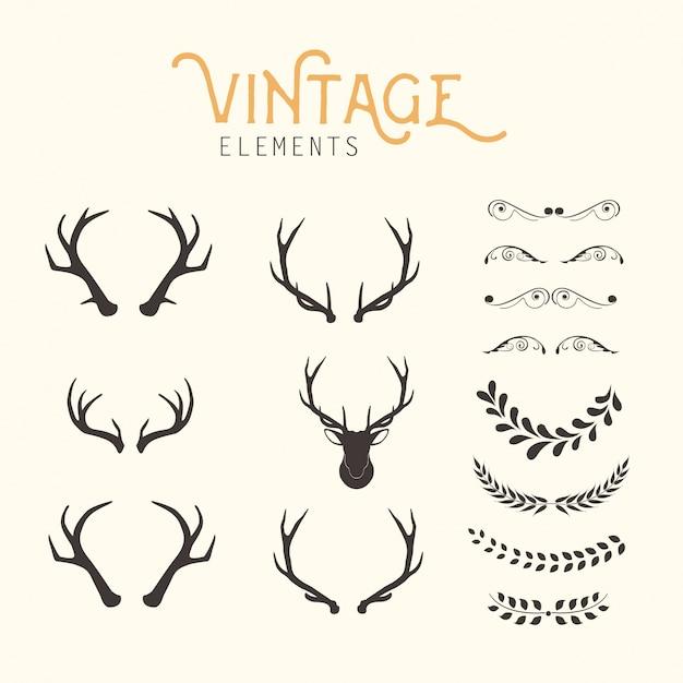 Vintage elementen Gratis Vector