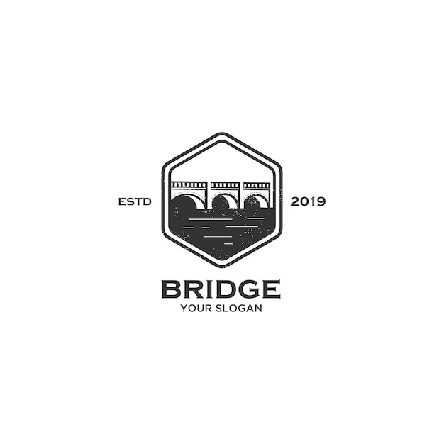 Vintage embleem van de brug embleem Premium Vector