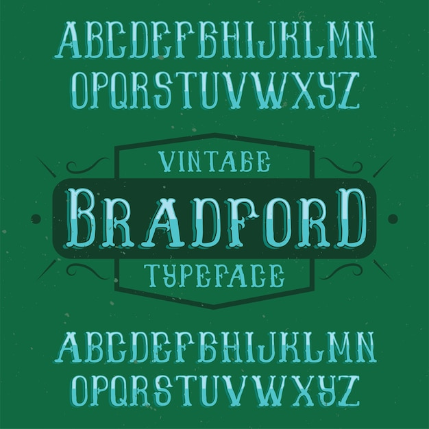 Vintage etiketlettertype bradford. Gratis Vector