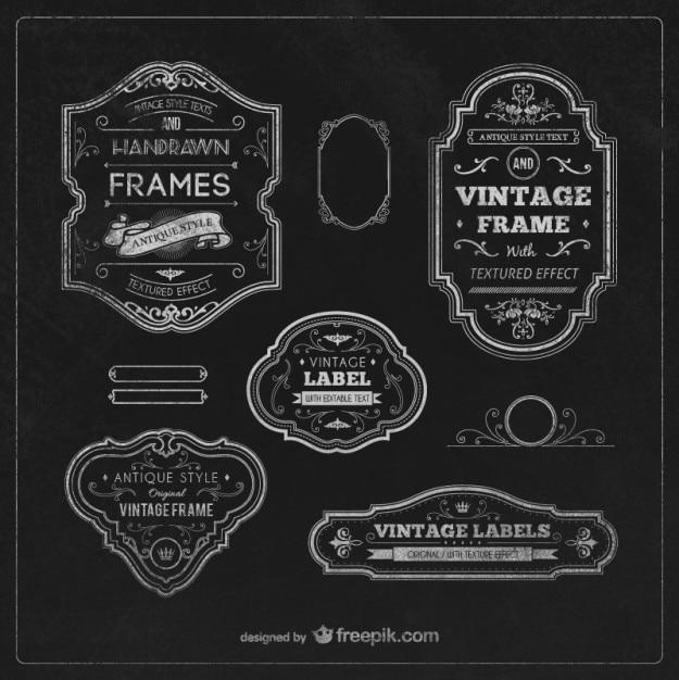 Vintage etiketten en frames Gratis Vector